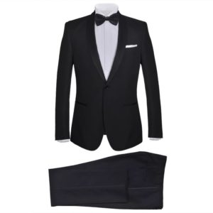 2-tlg. Herren-Abendanzug/Smoking Tuxedo Schwarz Größe 50