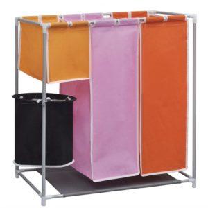 3-Kammer-Wäschekorb mit Wascheimer