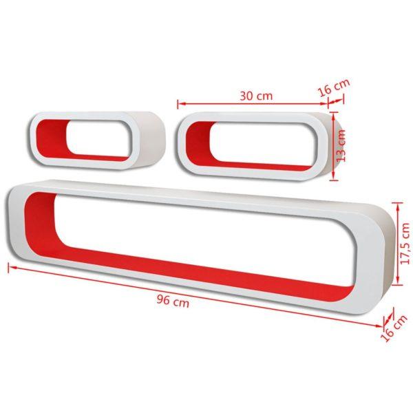 3er Set MDF Hängeregal Cube Regal Wandregal für Bücher/DVD, weiß-rot