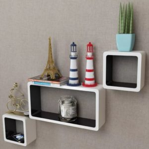 3er Set MDF Hängeregal Cube Regal für Bücher/DVD, weiß-schwarz