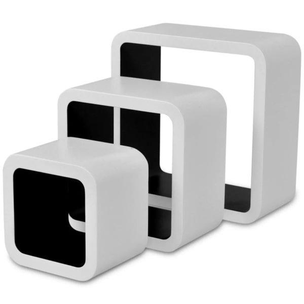 3er Set MDF Cube Regal Hängeregal für Bücher/DVD, weiß-schwarz