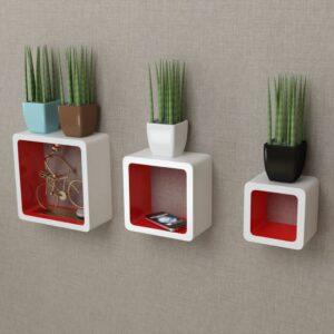 3er Set MDF Hängeregal Wandregal Cube Regal für Bücher/DVD, weiß-rot