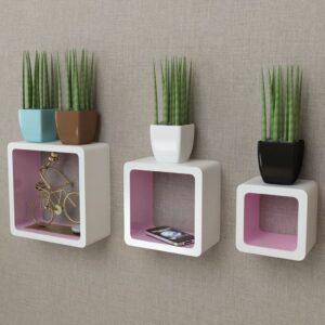 3er Set MDF Wandregal Hängeregal Cube Regal für Bücher/DVD, weiß-rosa