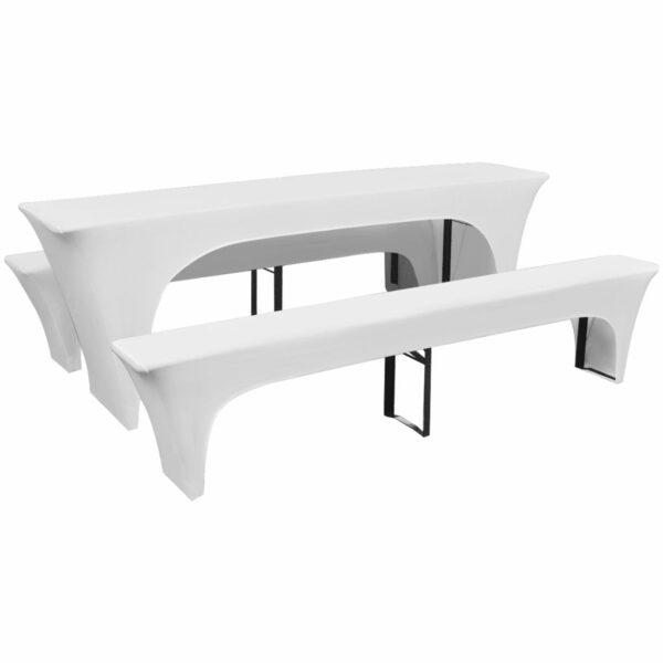 3 Schonbezüge für Biertisch und Bänke Stretch Weiß 220 x 70 x 80 cm