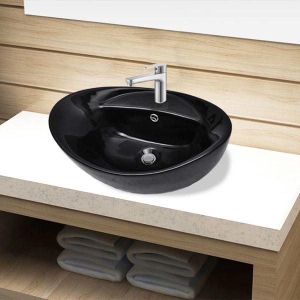 Keramik Waschbecken Hahnloch/Überlaufloch schwarz oval