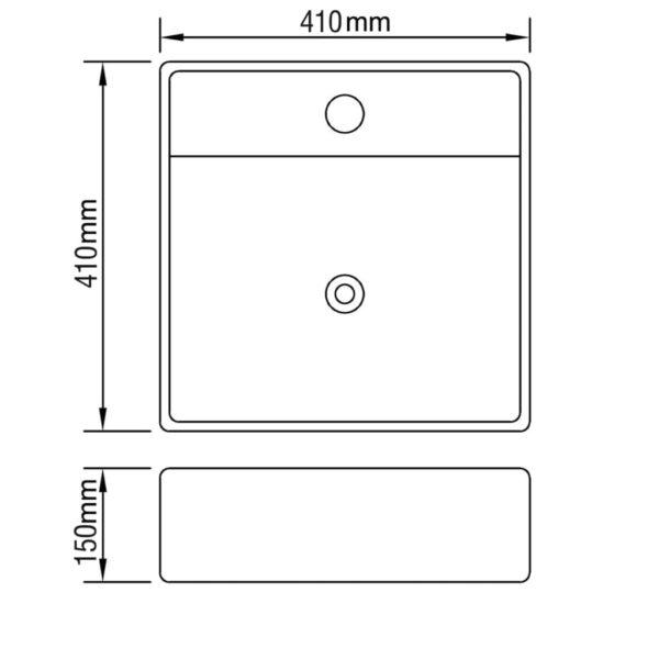 Keramik Waschbecken Hahnloch/Überlaufloch schwarz quadratisch
