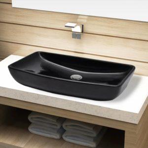 Keramik Waschbecken schwarz rechteckig
