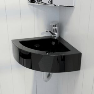 Waschbecken mit Überlauf 45 x 32 x 12,5 cm Schwarz