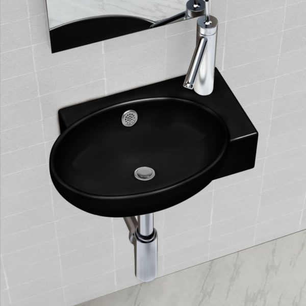 Keramik Waschbecken mit Hahn/Überlaufloch schwarz rund