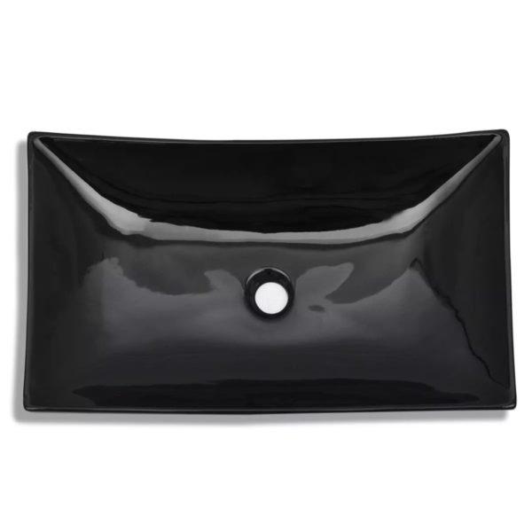 Keramik Waschbecken rechteckig schwarz