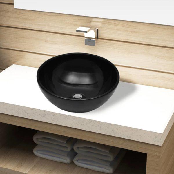 Keramik Waschbecken rund schwarz