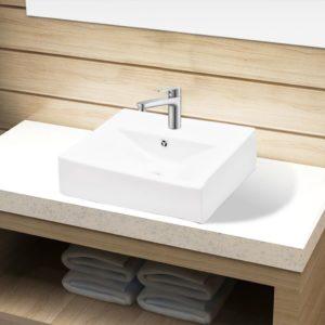 Keramik Waschbecken Hahnloch/Überlaufloch weiß rechteckig