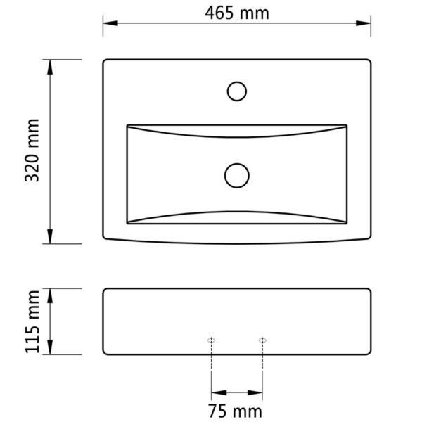 Keramik Waschbecken Hahnloch/Überlaufloch schwarz rechteckig