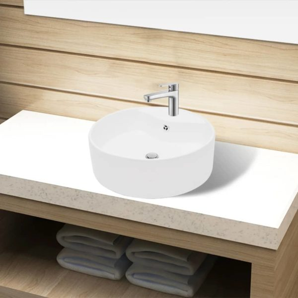 Keramik Waschbecken Hahnloch/Überlaufloch weiß rund