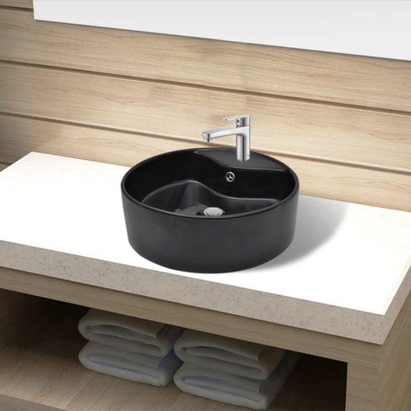 Keramik Waschbecken Hahnloch/Überlaufloch schwarz rund