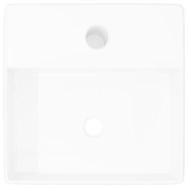 Keramik Waschbecken mit Hahnloch Weiß Quadratisch