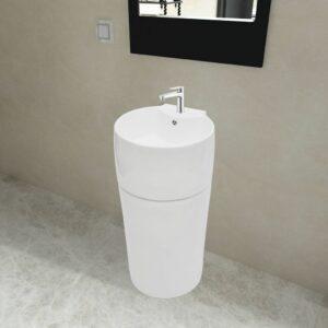 Standwaschbecken mit Hahn/Überlaufloch Keramik weiß rund