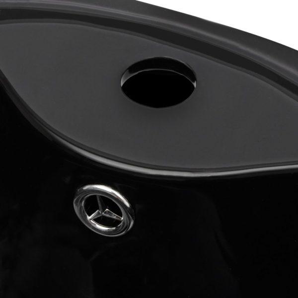 Keramik Standwaschbecken mit Hahn/Überlaufloch schwarz rund