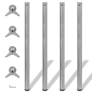 4x höhenverstellbares Tischbein Tischbeine Nickel gebürstet 1100 mm