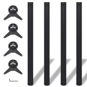 4x höhenverstellbares Tischbein Tischbeine Schwarz 870 mm