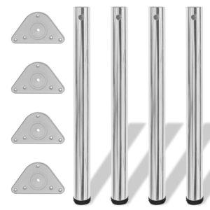 4x höhenverstellbares Tischbein Tischbeine Stützfuß Chrom 710 mm