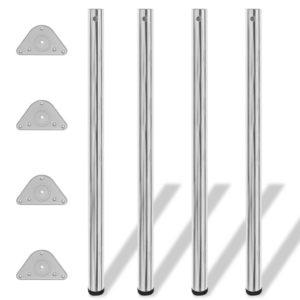4x höhenverstellbares Tischbein Tischbeine Stützfuß Chrom 1100 mm