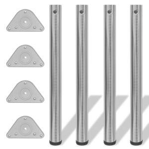 4x höhenverstellbares Tischbein Tischbeine gebürstetes Nickel 710 mm
