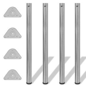 4x höhenverstellbares Tischbein Tischbeine gebürstetes Nickel 870 mm