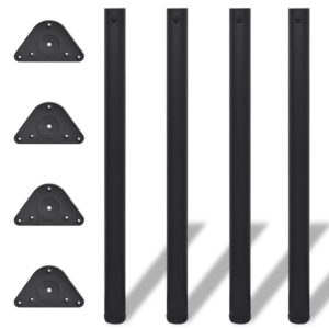 4x höhenverstellbares Tischbein Tischbeine Stützfuß Schwarz 870 mm