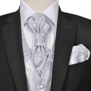 Herren Paisley-Hochzeitswesten-Set Größe 48 Silber