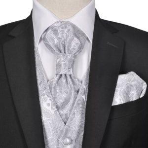 Herren Paisley-Hochzeitswesten-Set Größe 56 Silber