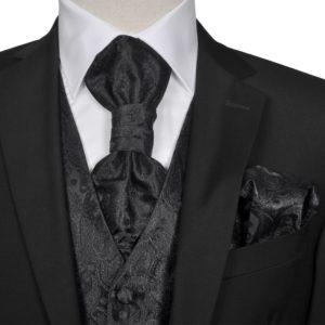 Herren Paisley-Hochzeitswesten-Set Größe 54 Schwarz