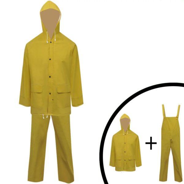 2-tlg. Regenanzug mit Kapuze wasserdicht hochbelastbar gelb XXL