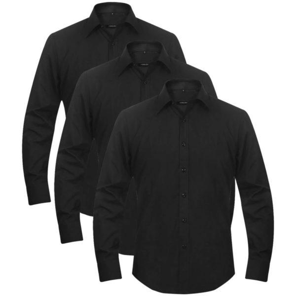 3 x Herren Business-Hemd Größe M schwarz