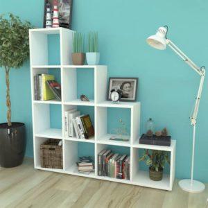 Treppenregal Bücherregal 142 cm Weiß