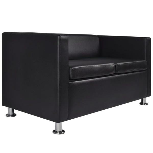 Sofa-Set Kunstleder 3-Sitzer und 2-Sitzer Schwarz