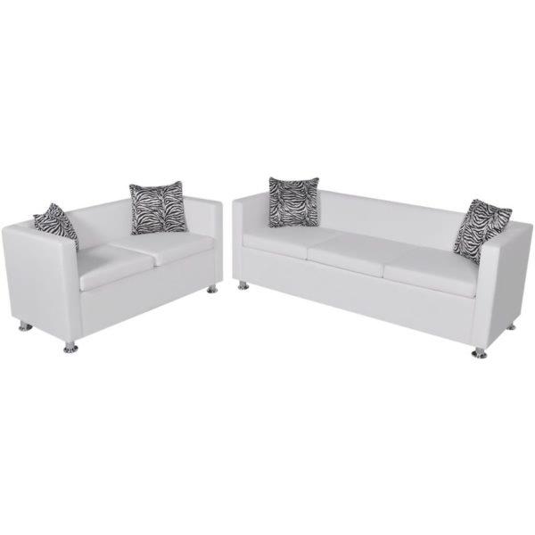 Sofa-Set Kunstleder 3-Sitzer + 2-Sitzer Weiß