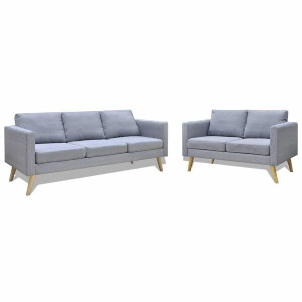 Sofa Set 2-Sitzer und 3-Sitzer Stoff Hellgrau