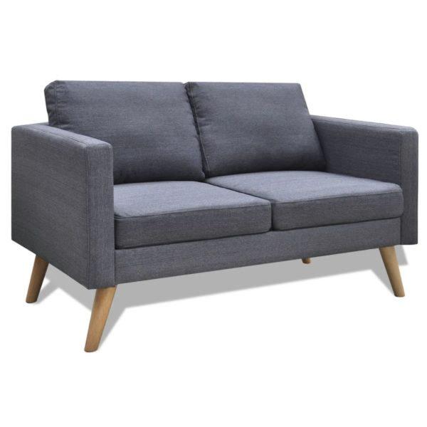 Sofa Set 2-Sitzer und 3-Sitzer Stoff Dunkelgrau