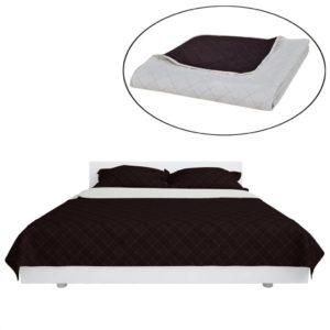 Zweiseitige Steppdecke Bettüberwurf Tagesdecke Beige/Braun 220x240cm