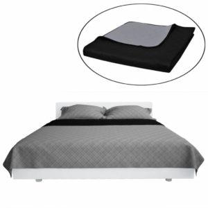 Zweiseitige Steppdecke Bettüberwurf Tagesdecke Schwarz/Grau 170x210cm