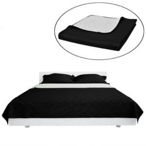 Zweiseitige Steppdecke Bettüberwurf Tagesdecke Schwarz/Weiß 220x240cm