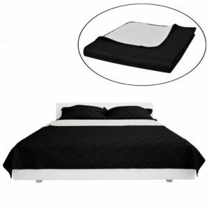 Zweiseitige Steppdecke Bettüberwurf Tagesdecke Schwarz/Weiß 230x260cm