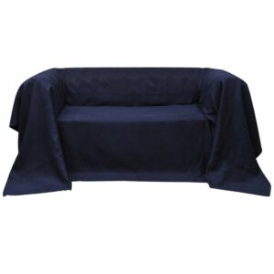 Micro-Suede Sofaüberwurf Tagesdecke Marineblau 270 x 350 cm