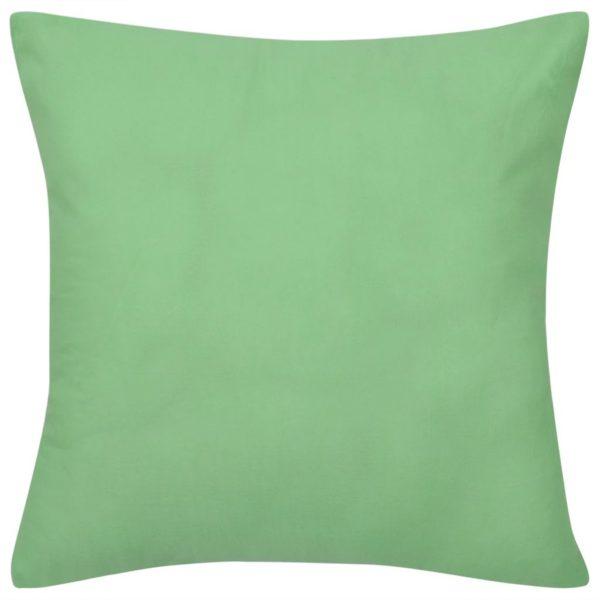 4 apfelgrüne Kissenbezüge Baumwolle 40 x 40 cm