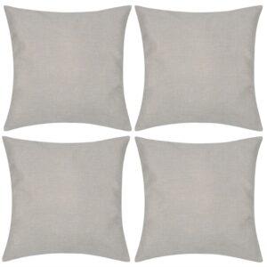 4 beige Kissenbezüge Leinenoptik 40 x 40 cm