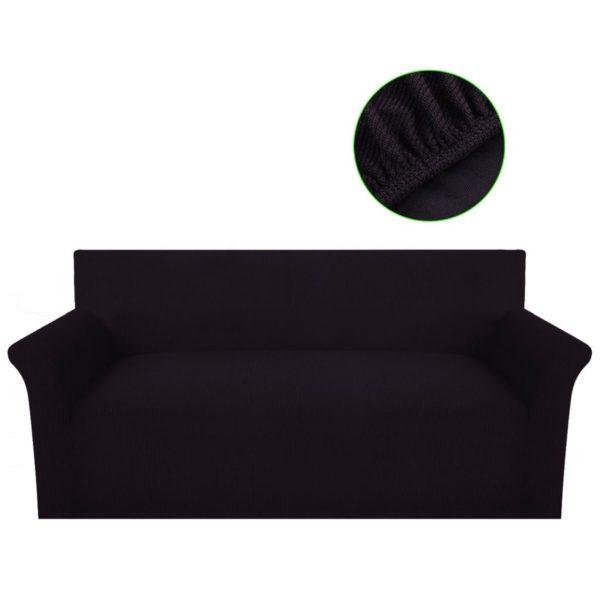 Sofahusse Sofabezug Stretchhusse Polyester Rippstrick Braun