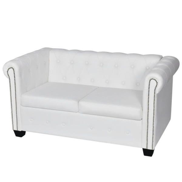 Chesterfield Sofa 2-Sitzer und 3-Sitzer Kunstleder Weiß