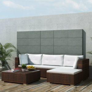 5-tlg. Garten-Lounge-Set mit Auflagen Poly Rattan Braun