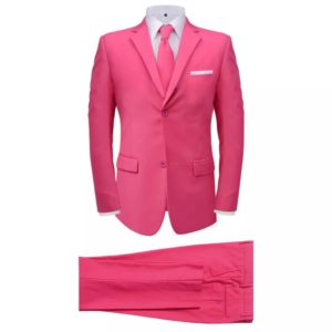 2-tlg. Herrenanzug mit Krawatte Rosa Gr. 54